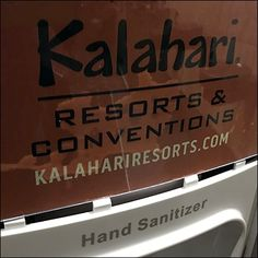 Whether you are there for the Resort, Waterpark, or Convention Center, this Kalahari-Resort-Branded Sanitizer Station a welcome amenity. Hand Sanitizer, Logo Branding, Cart, Retail, Covered Wagon, Karting, Sleeve, Retail Merchandising