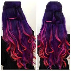 Hair styles - How To Get Sunset Hair – Hair styles Hair Dye Colors, Ombre Hair Color, Cool Hair Color, Wild Hair Colors, Colored Hair Streaks, Dark Hair With Color, Rainbow Hair Colors, Hair Color Ideas, Red Purple Hair