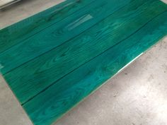 In tight collaboration with boleflooring. Oak tabletop moulded with ocean blue colour coating Designed by ccoating