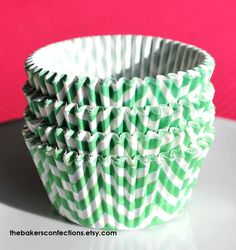 Lime Chevron Cupcake Liners - ZigZag Baking Cups, Designer Grease Resistant Liners (50). $3.99, via Etsy.