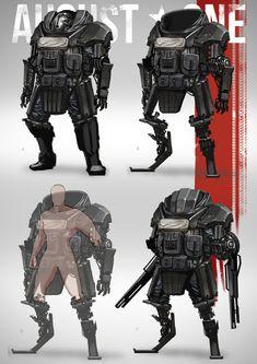 Robot Concept Art, Armor Concept, Cyberpunk Character, Cyberpunk Art, Robot Militar, Concept Clothing, Mecha Suit, Futuristic Armour, Sci Fi Armor