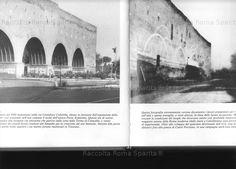 : Porta Ardeatina con la foto curiosa che documenta i lavori preparatori. I grandi archi furono aperti nel 1939. Anno: Fine anni '30 Old City, Old Photos, Rome, Taj Mahal, Statue, History, World, Building, Artwork