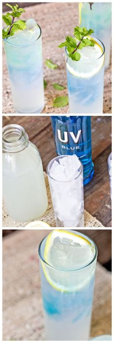 Blue vodka lemonade add a cherry and might taste like a bomb pop! Fruit Drinks, Party Drinks, Alcoholic Drinks, Spiked Lemonade, Vodka Lemonade, Cocktails, Cocktail Drinks, Cocktail Recipes, Drink Recipes