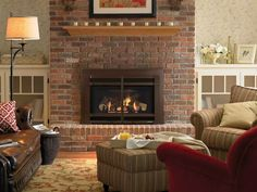 Ideal Red Brick Fireplace Olive Couch Brown Wood Floors Mantles