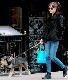 Dakota Johnson walking around her neighbourhood with her dog Zeppelin, New York on April 7,2015.