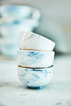 Strata Salt Pot. Trimmed with genuine gold and crafted from custom marble clay, each and every piece is utterly unique.