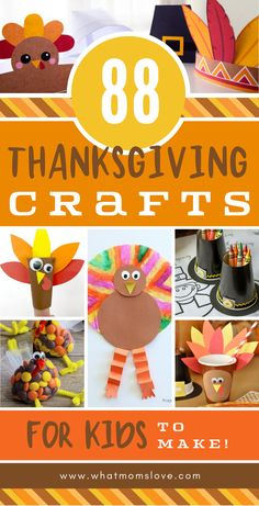 The best list of easy Thanksgiving crafts for kids to make | Simple DIY activities including turkey and pilgrim crafts. Plus fun food recipes, activities that each gratitude, and things to keep the kids entertained at the kids' table!