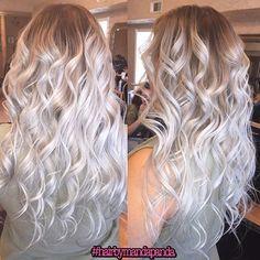 Silvery white blonde hair!