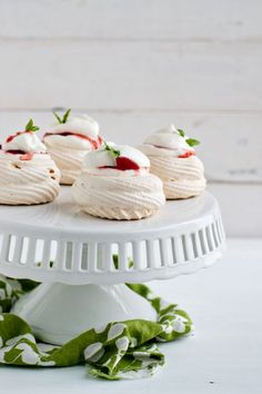 Meringue Nests with Basil Scented Strawberry-Rhubarb Compote