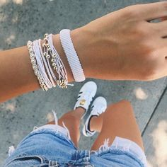 White Beads & White Studs × Use code 'SarahFreemyer20' for 20% off all orders! × Pura Vida Bracelets