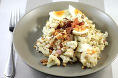 Keto Potato Salad uses sneaky cauliflower, but the flavours of seeded mustard, bacon and pine nuts more than makes up for it!