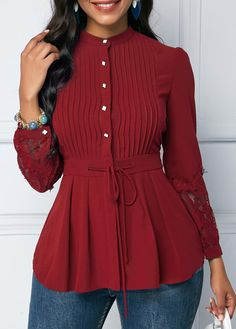 Lace Panel Wine Red Crinkle Chest Peplum Blouse Style :Cute Collar :Mock Neck Sleeve's Length :Long Sleeve Pattern Type :Patchwork Clothing's Length :Regular Color Scheme :Red Material Polyester, Spandex viaLace Panel Crinkle C - January 27 2019 atCh Trendy Tops For Women, Blouses For Women, Blouse Styles, Blouse Designs, Look Fashion, Fashion Outfits, Womens Fashion, Peplum Blouse, Peplum Dresses