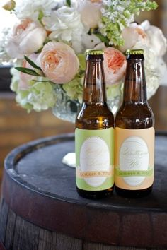 FAVORS: Matching-His-and-Hers-Beer-Bottles - beer shaped cards with history of his/hers beer and why they love this beer - rip off bottle cap tops to use as ticket to redeem beer at bar