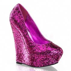 c5fd733c20fd Platform Hot Pink Glitter Wedge Pumps I have these in heels