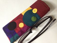 Reading Glasses Case  burgundy teal gold and purple squares and circles by thesewingmachine