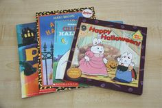 Books (Language). Pumpkin Eye by Denise Fleming, Arthur's Halloween by Marc Brown, Clifford's Halloween by Norman Bridwell, and Happy Halloween by Rosemary Wells.
