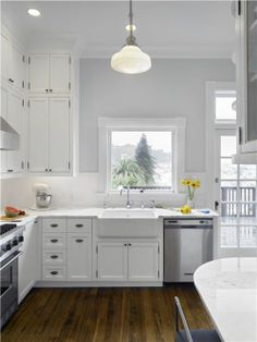 Gray Walls White Cabinets Tile Backsplash Love It All Especially