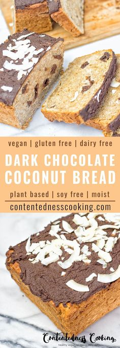 Gluten Free Dark Chocolate Bread so delicious, mouthwatering and super easy to make. It's vegan, made with coconut flour infused with chocolate chips and covered with an amazing dairy free chocolate icing. Makes an irresistible breakfast, snack and plant based dessert made from only 6 ingredients!