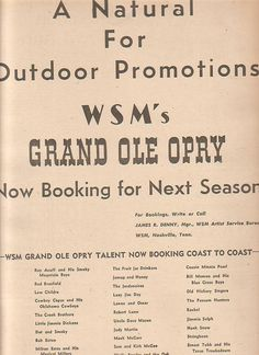 WSM Grand Ole Opry 1950 Ad- booking for next season The Jordanaires Bill Monroe Roy Acuff, Bill Monroe, Grand Ole Opry, Ads, Seasons, Writing, Seasons Of The Year, Being A Writer