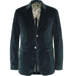 GUCCI Petrol Slim-Fit Cotton-Velvet Blazer