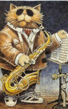 Jazz Cat, from a greeting card Saxophone Sheet Music, Saxophone Players, Jazz Cat, Cat Background, Elvis Presley, Music Crafts, Here Kitty Kitty, Crazy Cats, Cool Cats