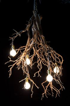 Wood Tree Branch Sculptural Lighting #Chandeliers, #WoodLamp, #halloween