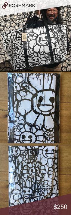 "Takashi Murakami x Madsaki ComplexCON vinyl tote Murakami special collab, vinyl tote bag, flower black and white, 33""L x 17""H x 11""W takashi murakami x madsaki Bags"