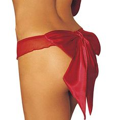 Zmart Womens Back Ribbon Satin Bow Sheer Ruffled G String Thongs Underwear Red One sizeUS 0014 Red * Be sure to check out this awesome product.
