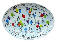 "Thumbprint Balloons Platter -  ""We're ready to soar!"" 