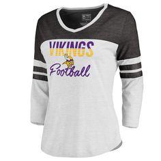 Women s Minnesota Vikings NFL Pro Line by Fanatics Branded White Plus Size  Color Block 3 4 Sleeve Tri-Blend T-Shirt 0fbcba13f9