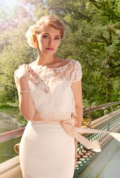 """French Lace and Duchess Satin Mermaid Wedding Gown, """"Ann-Marie"""", Cap Sleeve, Sweetheart strapless bustier, train, Mix and Match Customizable. $1,998.00, via Etsy."""