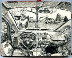 Paul Heaston: Drawing in the car in Denver, Colorado