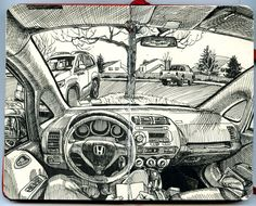 Paul Heaston: Drawing in the car in Denver, Colorado