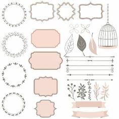 coleção bonito de elementos de decoração