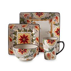 The Square Tabletops Unlimited Odessa Dinnerware Collection offers a stylish, unique look with a south-western appeal. Hand-painted flowers bring the beauty of the garden to your table.