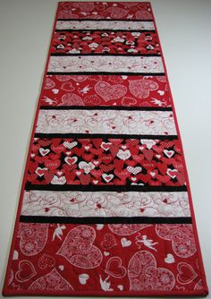 Quilted Table Runner , Valentine's Day Table Runner , Hearts and Cupid