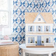 Dream Home Design, House Design, Bunny Lamp, Bow Wallpaper, Girl Bedroom Designs, Stack Of Books, Blue Rooms, Little Girl Rooms, Small Tables
