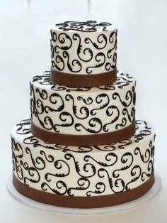 Brown Scroll Wedding Cake
