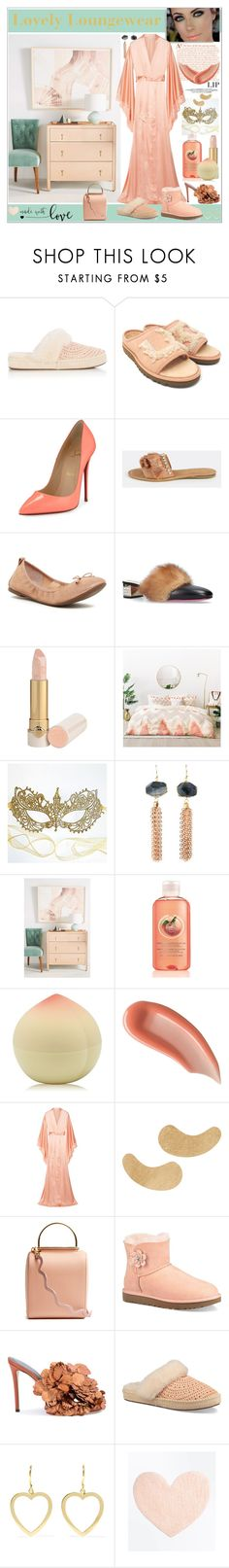 """""""Peach Lipstick"""" by yours-styling-best-friend ❤ liked on Polyvore featuring beauty, UGG, Christian Louboutin, Jessica Simpson, Gucci, DENY Designs, Masquerade, Anthropologie, TONYMOLY and Surratt"""