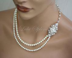 Bridal Necklace Wedding Pearl Necklace Bridal Necklace Swarovski Rhinestone Ivory Pearl Wedding Jewelry MARCELLA. $120.00, via Etsy.