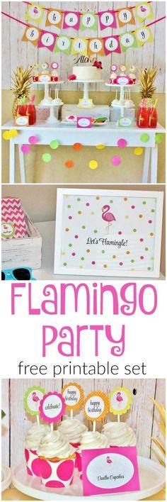 Adorable FREE Printable Flamingo Party Set <3 plus tons of easy party ideas.