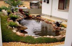 Lago com formato de pera artificial para embelezar o jardim Mais