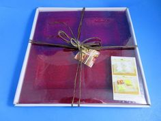 Bent Art Glass Square Red 4 Section Tray 14x14 Inch New In Box #HomeEssentials