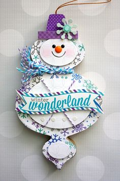 Frosty Friends: Ornament by Shellye McDaniel from Doodlebug Design using the new Frosty Friends collection - you can see the card & ornament gift set she made here http://www.pinterest.com/pin/247275835766285011/