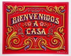Gustavo Ferrari -bienvenidos a casa cartel fileteado Graphic Design Fonts, Lettering Design, Hand Lettering, Different Lettering Styles, Welcome Wood Sign, Tattoo Signs, Ad Art, Vintage Typography, Decoupage Paper