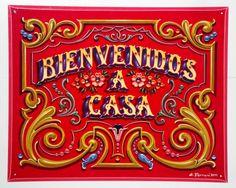 Gustavo Ferrari -bienvenidos a casa cartel fileteado