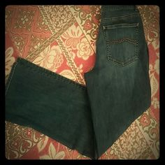 """Talbots Stretch Denim Jeans Great gold stiching on these classic straight leg jeans.  28"""" waist, 30.5"""" inseam, 9.5"""" Inseam, 17"""" leg opening. All measurements are approximate. Talbots Jeans Straight Leg"""