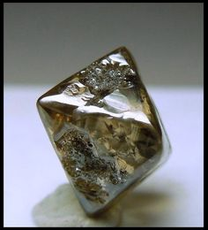 An octahedral diamond crystal with adamantine luster and transparent portions.The color is typical of the Argyle Mine, a light yellow/brown. It is very cool with a loupe because you can see the carbon inclusions within the transparent portions.It is very large for a Diamond, 4.68 carats. Argyle Mine Western Australia. Trinity Mineral Co Auction: Minerals