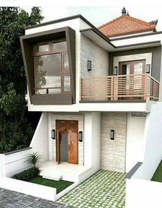 Simple good idea Minimalis House, Tiny House Design, Modern House Design, Design Rumah, Narrow House, Architecture, House Elevation, Mansions Homes, Dream House Plans