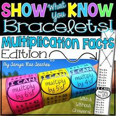 Show What You Know Bracelets! Multiplication Facts Edition★ Your students are going to love practicing their multiplication facts with these Show What You Know Bracelets! This file includes multiplication facts 0 through 3rd Grade Classroom, Third Grade Math, Math Classroom, Fourth Grade, Classroom Ideas, Teaching Schools, Tools For Teaching, Teaching Ideas, Math Resources